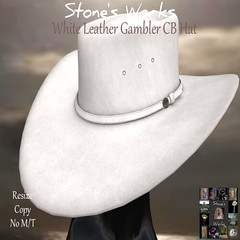 White Leather Gambler CB Hat Stone's Works