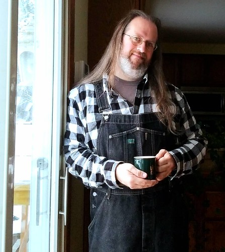 Finally the coffee was done. #yum #coffee #overalls #dungarees #biboveralls #vintage #GuessJeans #GuessOveralls #blackdenim #denimoveralls #overallsarelife #vintageoveralls #plaid #flannel