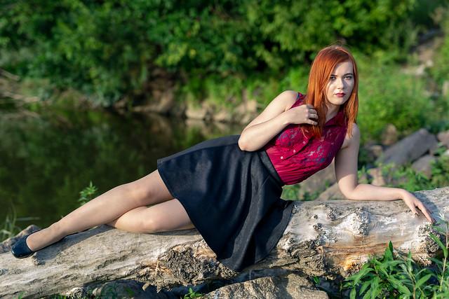 Driade on a fallen tree