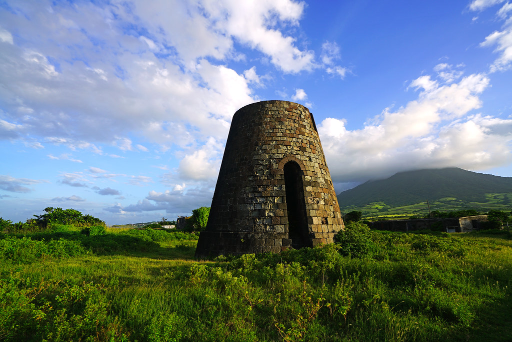 Old tower & Mount Liamuiga, Dieppe Bay Town, St Kitts