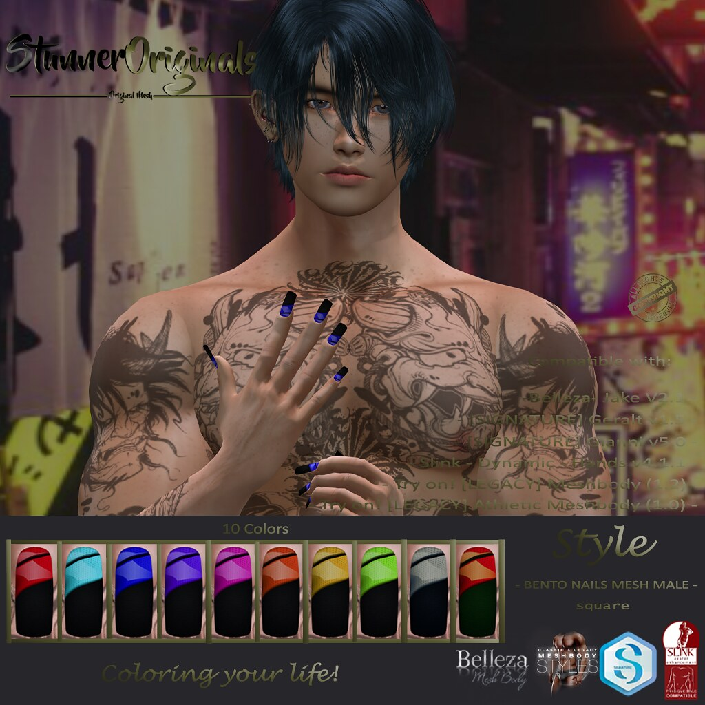 .:: SO ::. Bento Nails Mesh Male Square Style