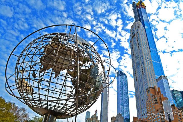 Time Warner Center Globe & Billionaire's Row Skyscrapers View from Columbus   Circle Manhattan New York City NY P00746 DSC_0586