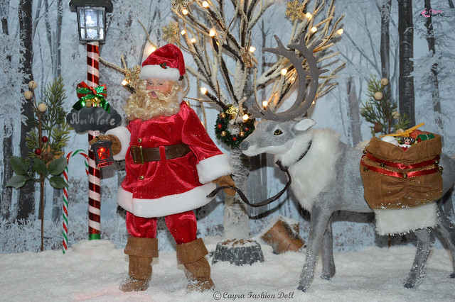 Santa Claus walks to the North Pole to deliver the toys.