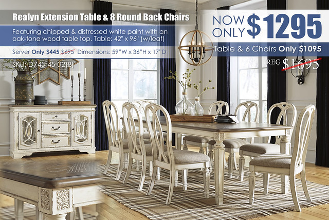 Realyn Rectangular Extension Dining Table & 8 Round Back Chairs_D743-45-02(8)