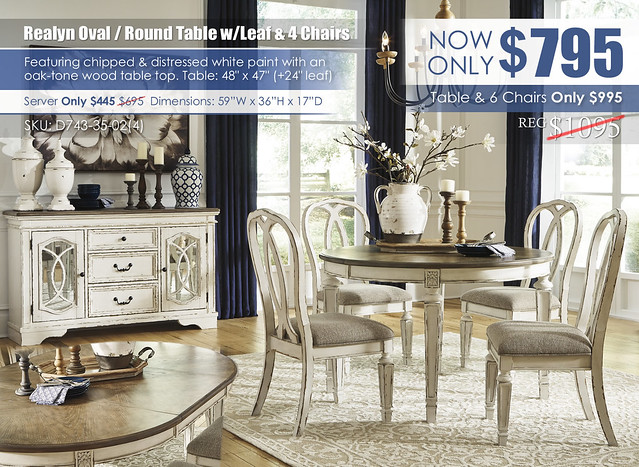 Realyn Oval Round Table with Leaf and 4 Chairs_D743-35-02(4)-60