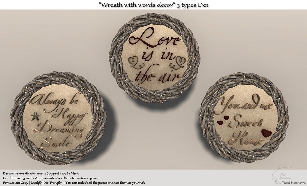 ".:Tm:.Creation ""Wreath with words"" Decor 3 types D01"