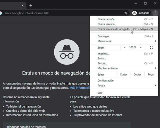 Cómo activar el modo incógnito de Chrome
