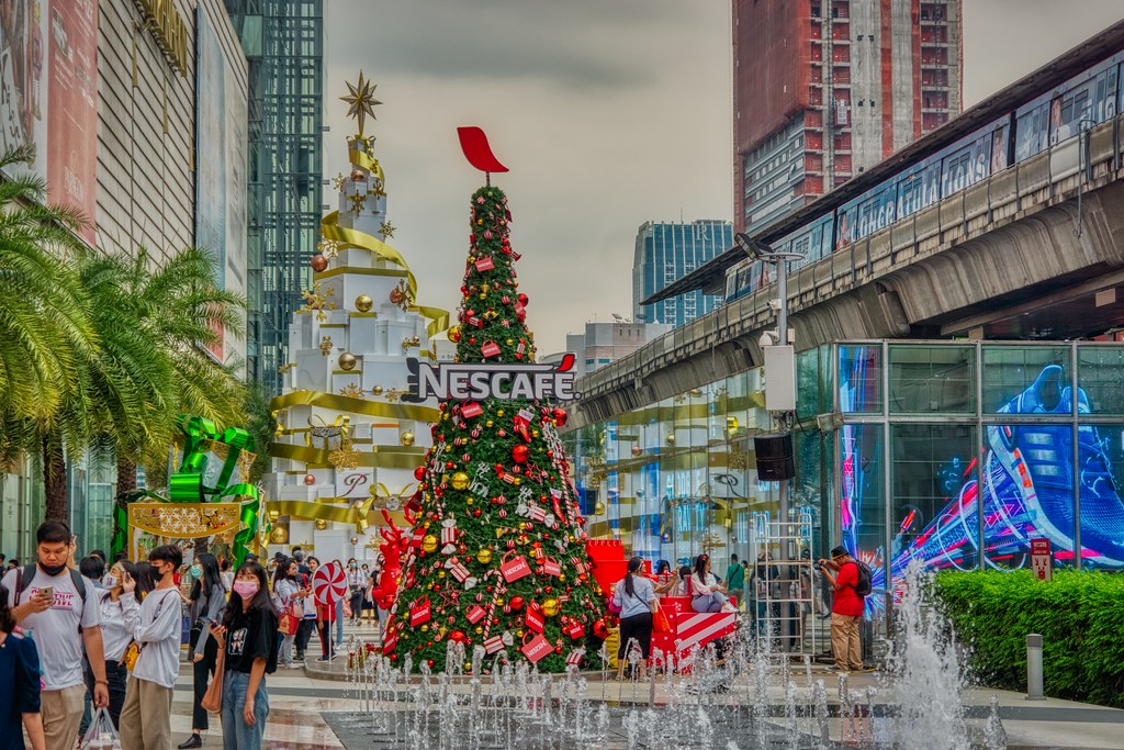 Christmas decorations outside of Siam Paragon shopping mall in Bangkok, Thailand