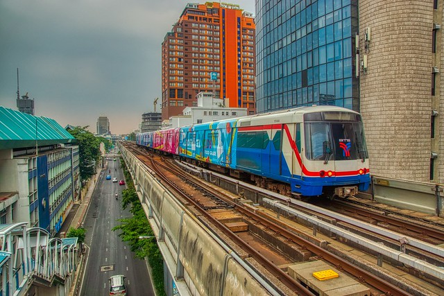 BTS Skytrain at National Stadium terminal station in Bangkok, Thailand