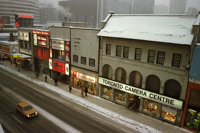 View of Yonge Street from the rooftop of Sam the Record Man, Toronto, 1982