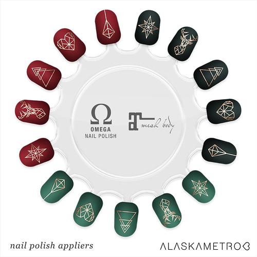 "Group gift: ""Xmas Geo"" nail art appliers"
