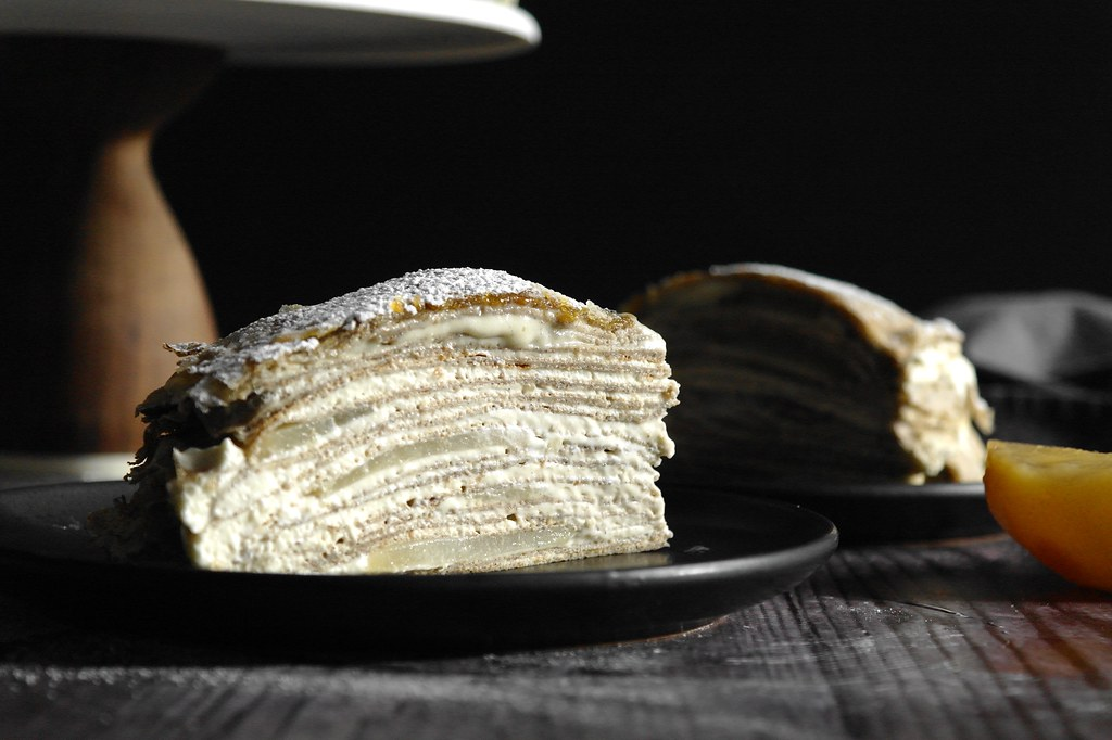poached pear mille crepe