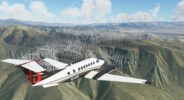 Beech King Air 350i over Palm Springs wind farm.