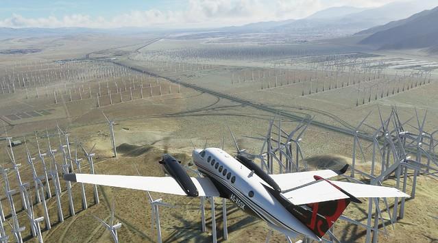 Beech King Air 350i over Palm Springs wind farm.