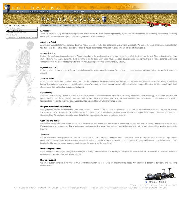 Racing Legends Features