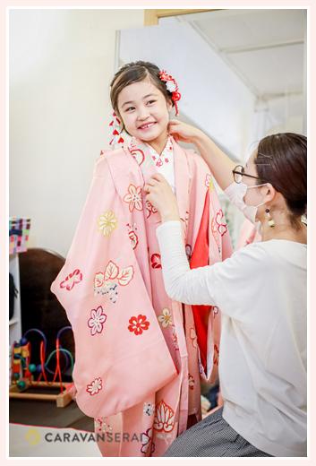 七五三 7歳の女の子の着付け ピンクの着物