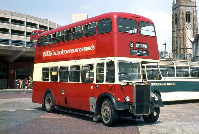 Plymouth City Transport . 91 NDR91 . Bretonside Bus Station , Plymouth , Devon . Saturday 29th-July-1972