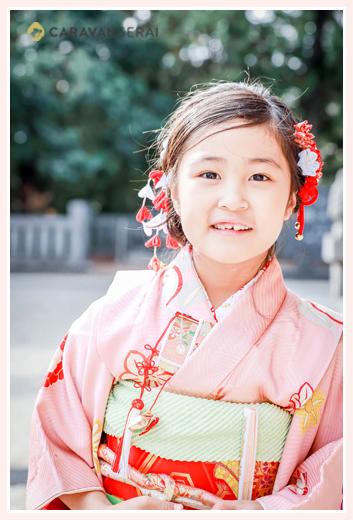七五三 7歳の女の子 以上はピンクの着物 ヘアスタイル・髪飾り