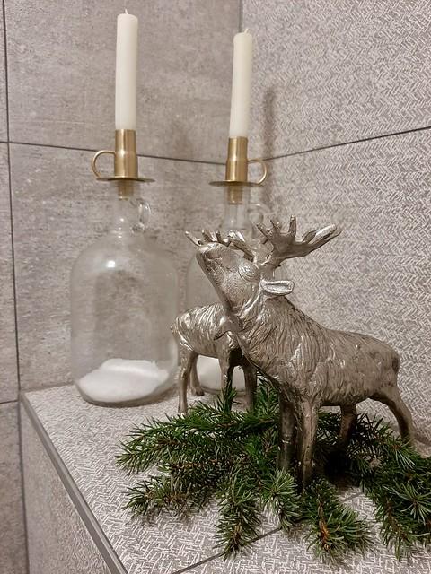 Glazen fles met kaars zilveren hert