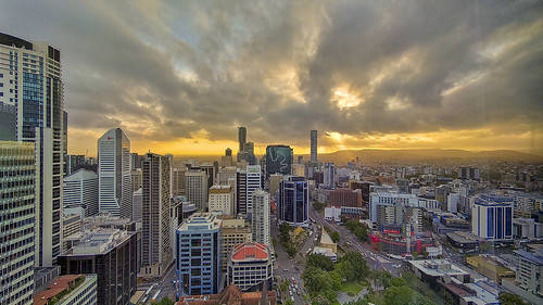 city skyline brisbane sunset landscape cityscape
