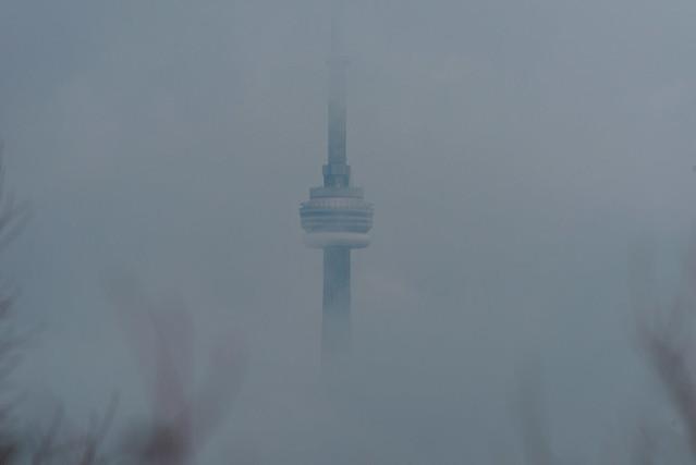 Toronto skyline in heavy fog   CN Tower