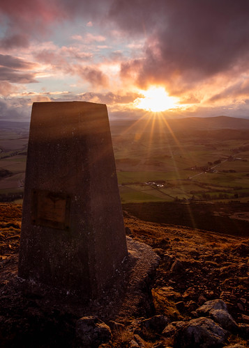 rhynie taponoth sunset sunrise landscape aberdeenshire scotland trig point