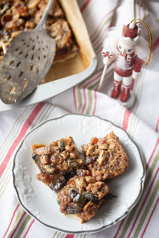 Fruitcake Squares on a Plate