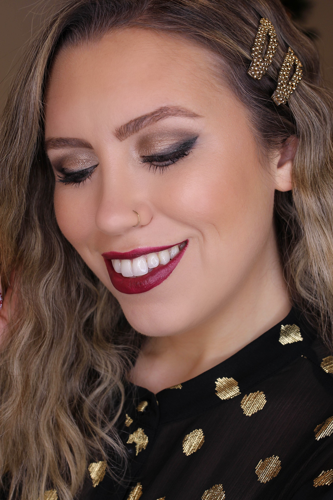 Holiday Makeup Monday Tutorial: Smokey Cat Eye | Smudged Lived In Makeup Look | Christmas Makeup Looks | Burgundy Lipstick