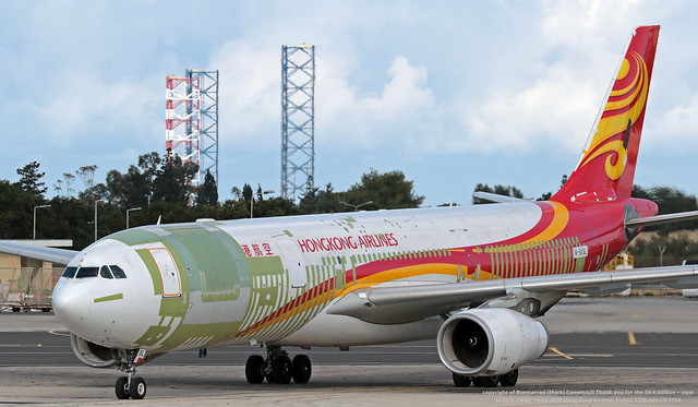 M-EKSL LMML 18-02-2020 Hong Kong Airlines Airbus A330-343 CN 1124