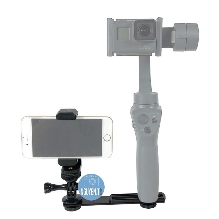 Bộ khung gắn Gimbal DJI Osmo Feiyu Zhiyun GoPro Hero kết hợp điện thoại Iphone