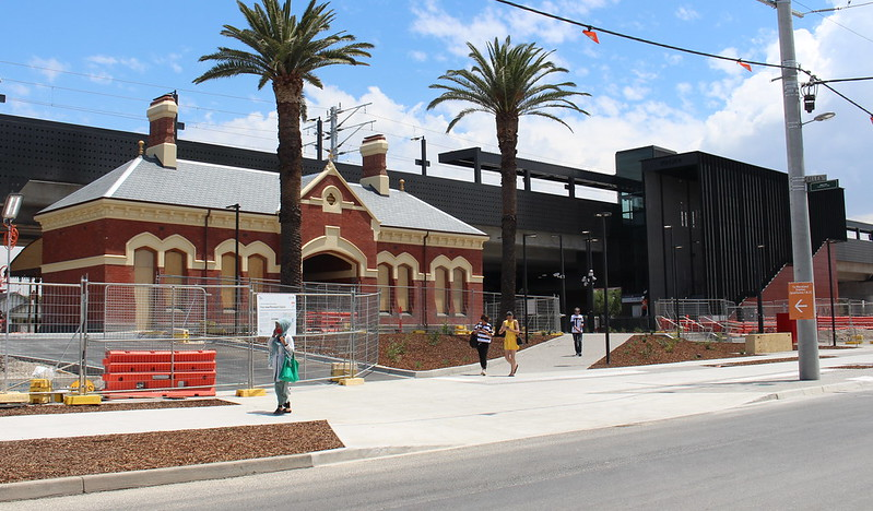 Moreland, old and new station buildings