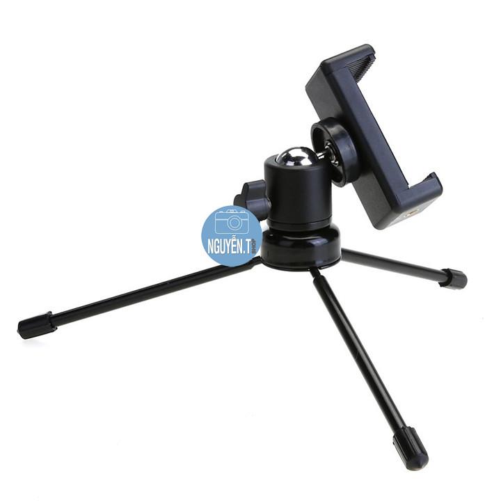 Bộ chân đứng tripod kim loại  + ball head kẹp điện thoại xoay 360 độ BSIP
