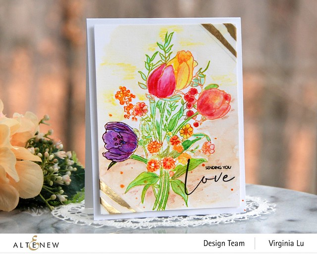 Altenew-PAF-Tulips-GoldStream Washi Tape-Artist Woodless Watercolor Pencils 24 Pan Set