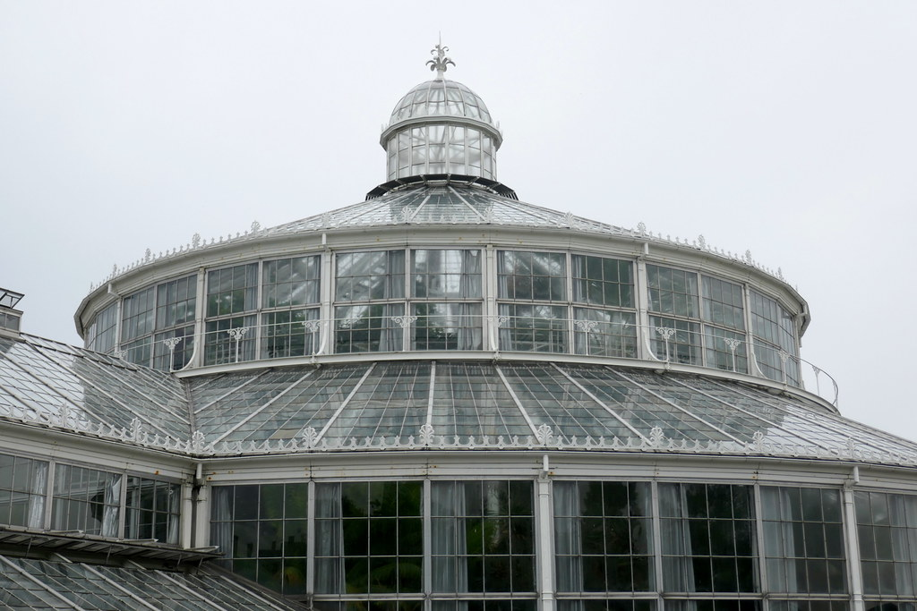 Grande serre, 1874, jardin botanique (Botanisk have), Indre by, Copenhague, Danemark.