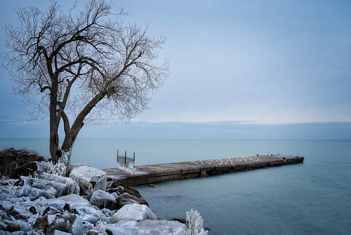 canada fall grimsby grimsbypier lakeontario landscape ontario ortbaldauf tree autumn cold colours dock evening ice lake nature niagara ortbaldaufcom outdoors photography pier rocks sky snow winter blue baretrees