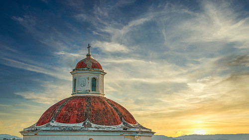 sunset church architecture clouds cross oldsanjuan puertorico dramatic textures dome historical decayed historicalsite domedetail lionfrr churchdome explore