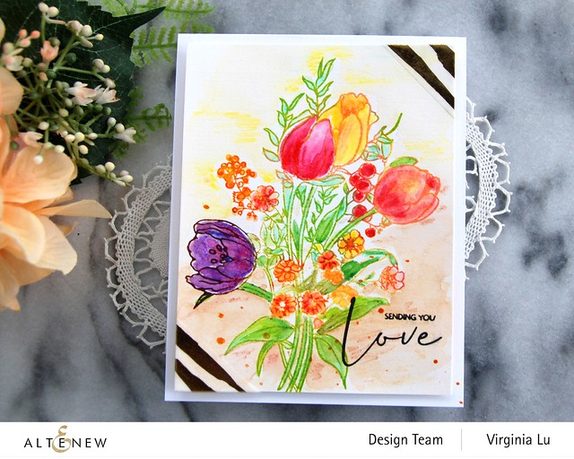 Altenew-PAF-Tulips-GoldStream Washi Tape-Artist Woodless Watercolor Pencils 24 Pan Set -003
