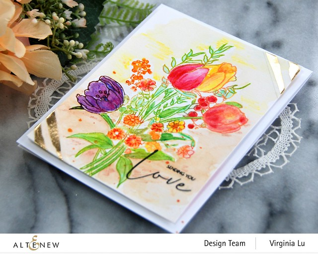 Altenew-PAF-Tulips-GoldStream Washi Tape-Artist Woodless Watercolor Pencils 24 Pan Set -001