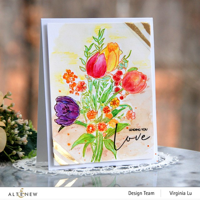 Altenew-PAF-Tulips-GoldStream Washi Tape-Artist Woodless Watercolor Pencils 24 Pan Set -002