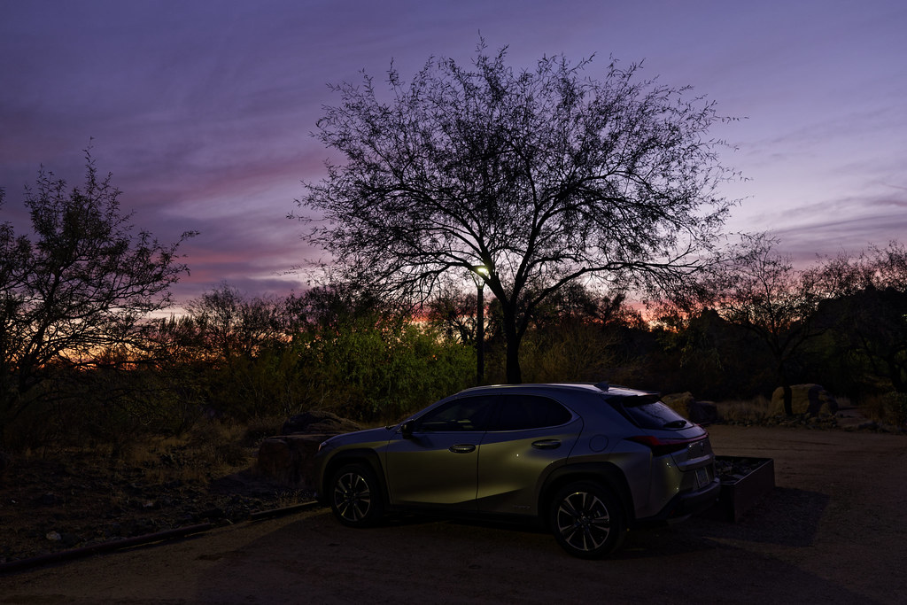 My 2020 Lexus UX 250h hatchback just past sunset in the parking lot of George Doc Cavalliere Park in Scottsdale, Arizona on December 13, 2020. Original: _CAM7584.arw