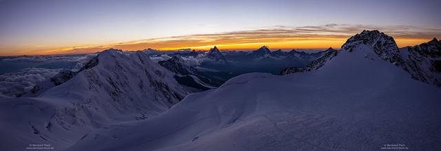 Wide dusk panorama at Capanna Margherita - 2020 Lockdown edition