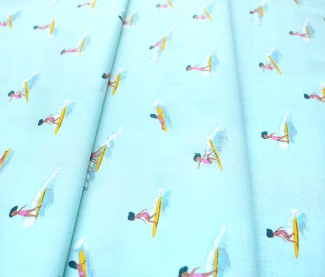 Windham Fabrics Malibu 52146-6 Tiny Surfers Sea Foam
