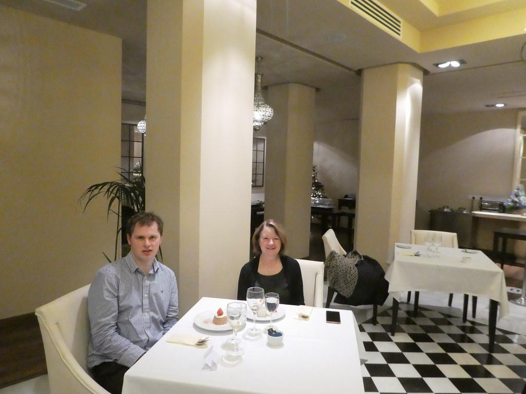 Enjoying dessert in The Terrace Restaurant, Rock Hotel, Gibraltar