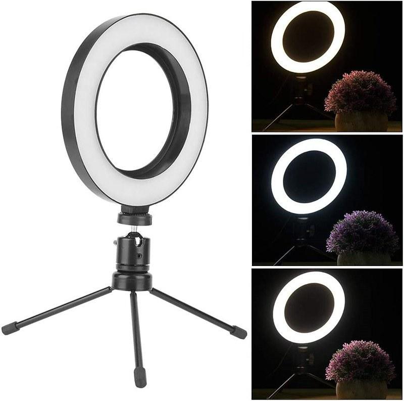 Bộ chân đứng + Đèn led ring hỗ trợ chụp MACRO, chụp sản phẩm, live stream 3 CHẾ ĐỘ SÁNG