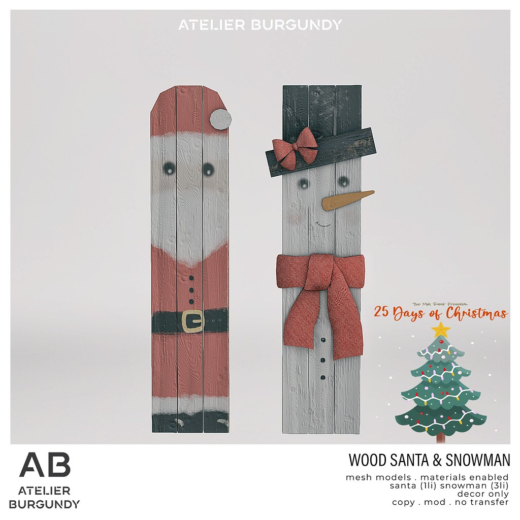 Atelier Burgundy . Wood Santa Snowman