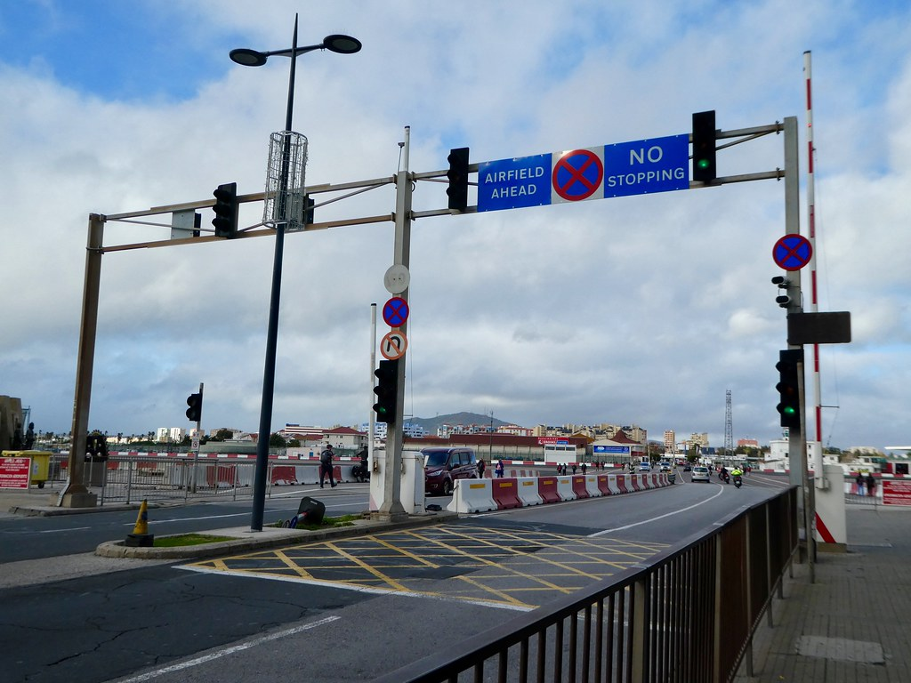 Road barrier at Gibraltar Airport