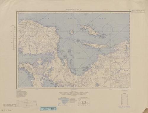 Amerikaanse legerkaart van de Geelvinck-baai met het eiland Yapen