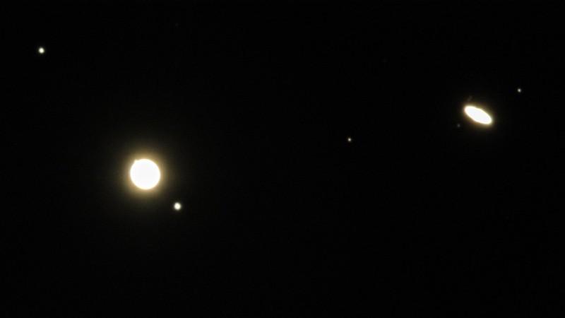 木星と土星の接近 (2020/12/22 17:21)