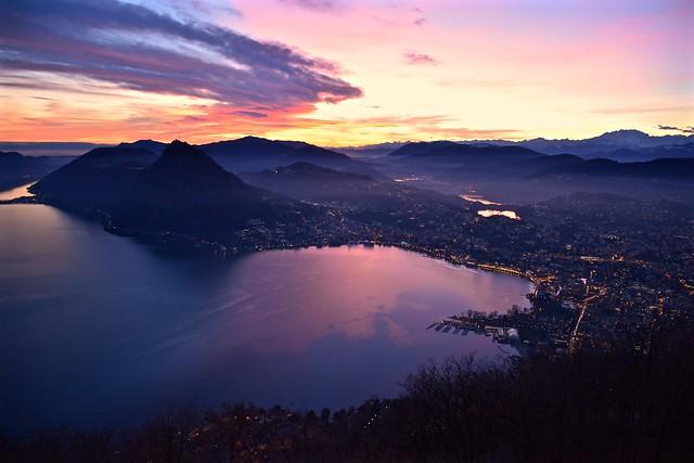 Lugano tramonto invernale
