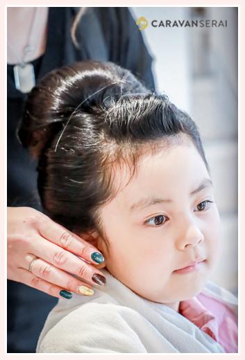 七五三 日本髪を結っている女の子